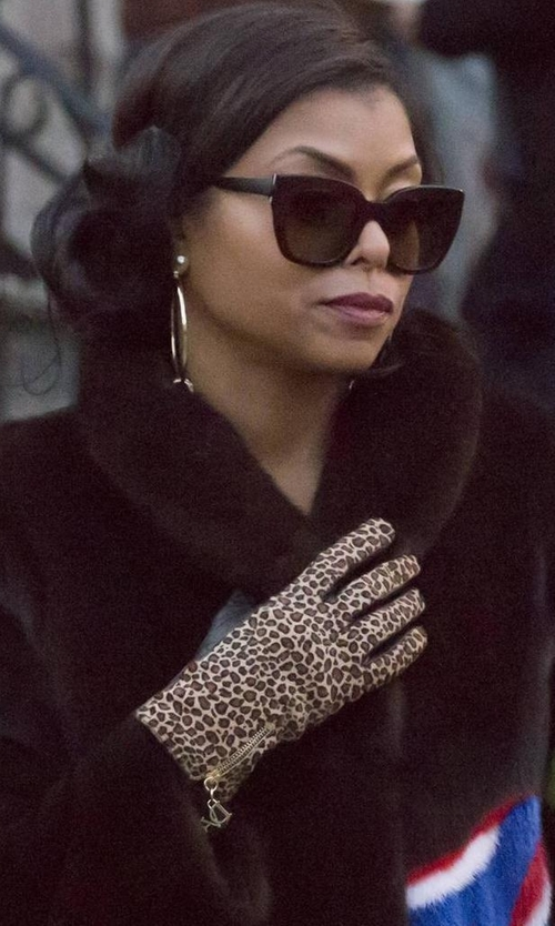 Taraji P. Henson with Diane Von Furstenberg Leopard-Print Calf Hair/Leather Gloves in Empire
