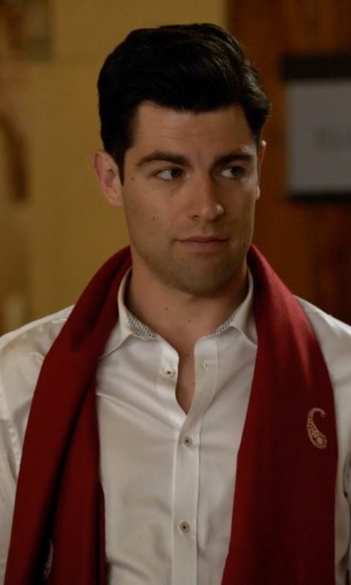 Max Greenfield with ShalinIndia Paisley Design Indian Scarf in New Girl