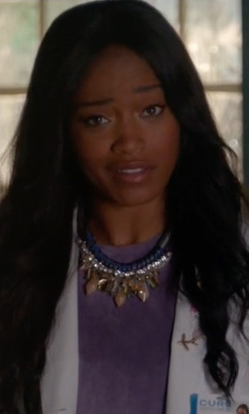 Keke Palmer with Topshop Sparkly Statement Necklace in Scream Queens