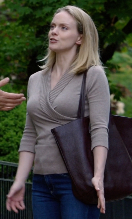 Christina Cole with AG Ankle Super Skinny Jeans in Suits