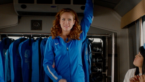 Brittany Snow with Nike Custom Bellas Jacket in Pitch Perfect 2