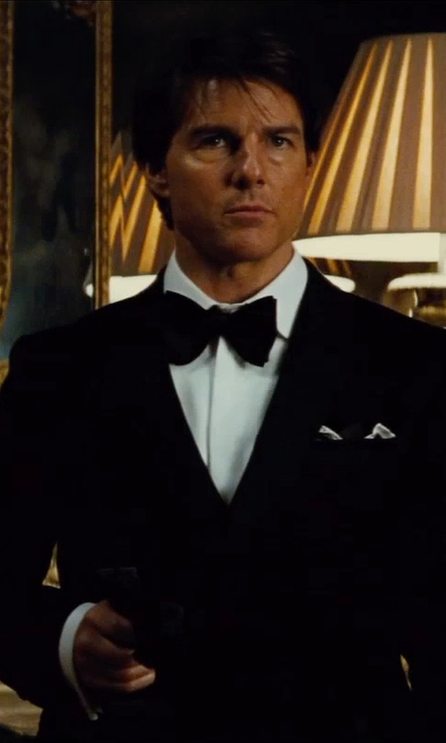 Tom Cruise with Ralph Lauren Polo Peak Lapel Tuxedo Suit in Mission: Impossible - Rogue Nation