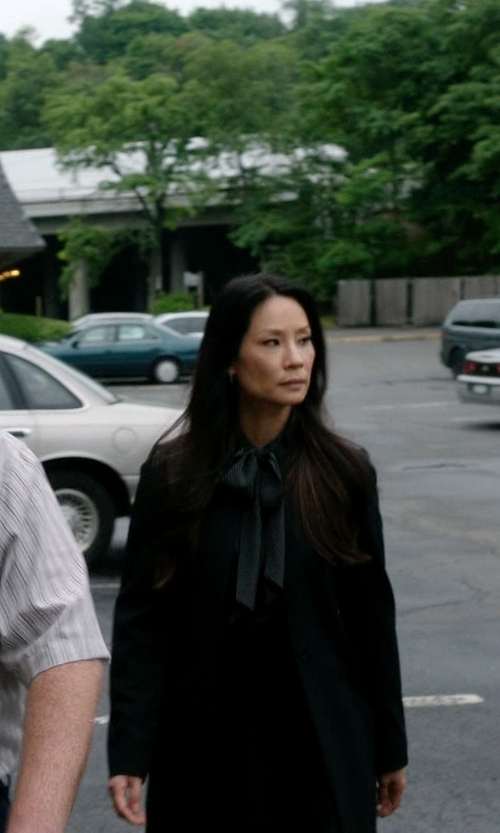 Lucy Liu with Ann Taylor Tall Silk Tie Neck Blouse in Elementary