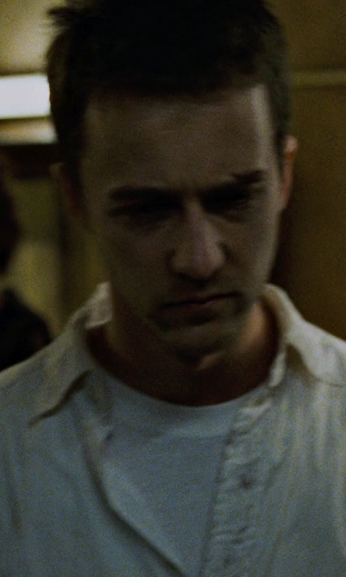 Edward Norton with Todd Snyder White Label Trim Fit Solid Dress Shirt in Fight Club