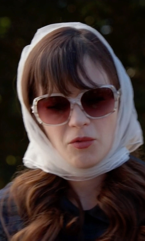 Zooey Deschanel with Tod's Oversized Translucent White Sunglasses in New Girl