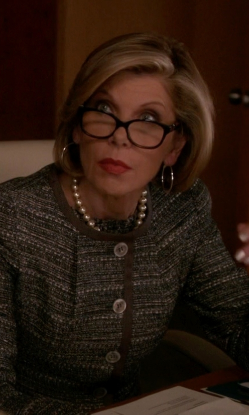 Christine Baranski with Givenchy Apet Crystal Brown-Stones Eyeglasses in The Good Wife