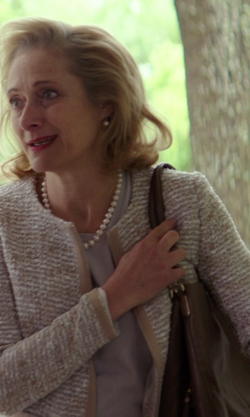 Caroline Goodall with Brunello Cucinelli Tubular-Knit Cardigan in The Best of Me