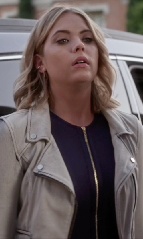 Ashley Benson with Kiind Of Light-Wash Denim Moto Jacket in Pretty Little Liars