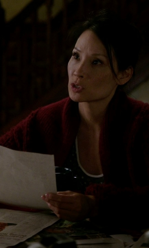 Lucy Liu with Neiman Marcus Cashmere Ribbed Circle Cardigan in Elementary
