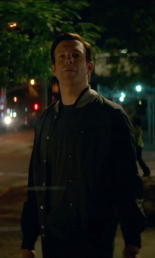 Jason Sudeikis with Huf Classic Varsity Jacket in Sleeping with Other People