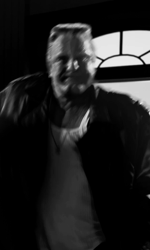 Mickey Rourke with BGSD Men's Classic Leather Long Trench Coat in Frank Miller's Sin City: A Dame To Kill For