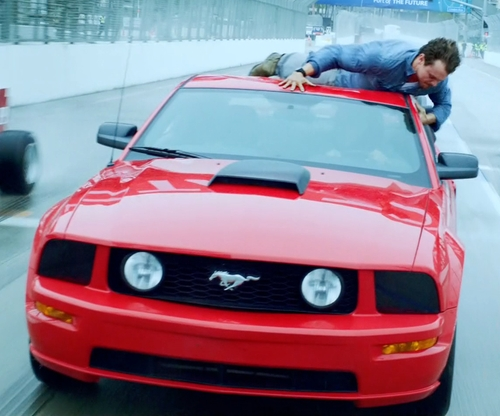 Clayne Crawford with Ford Mustang GT Coupe in Lethal Weapon