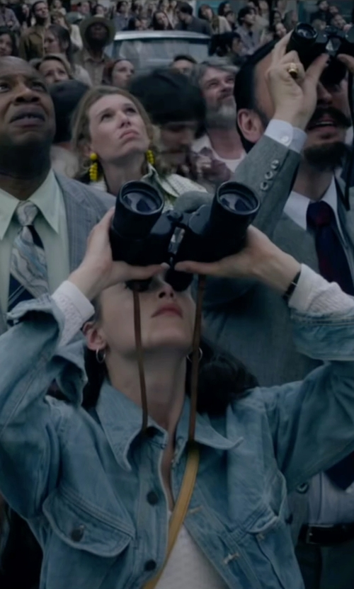 Charlotte Le Bon with Bushnell Powerview Super High-Powered Surveillance Binoculars in The Walk