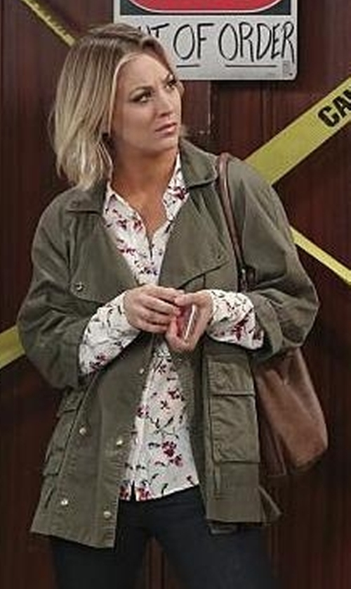 Kaley Cuoco-Sweeting with Equipment Brett Clean Floral Cadence Blouse in The Big Bang Theory