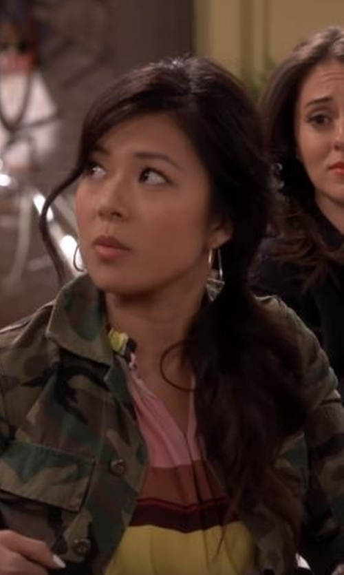 Christine Ko with A.B.S. By Allen Schwartz Rebel Soul Triangle Drop Earrings in The Great Indoors