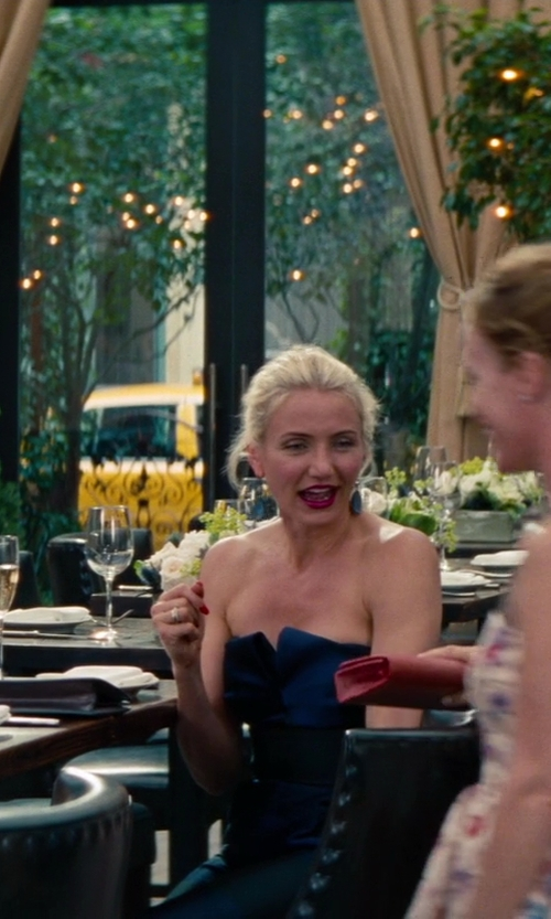 Cameron Diaz with Stella Mccartney Striped Strapless Jumpsuit in The Other Woman