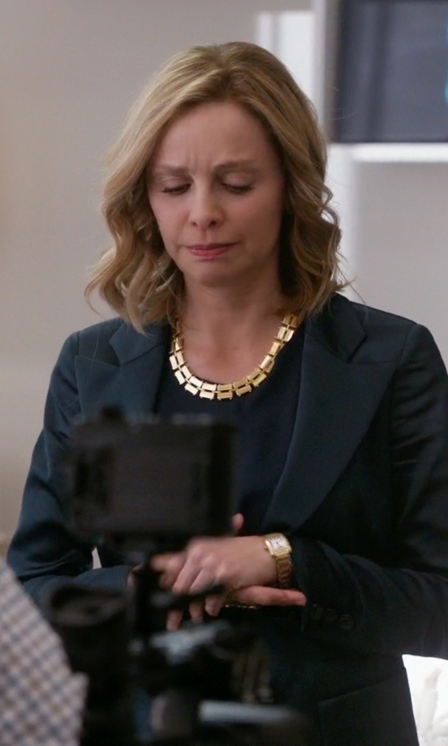 Calista Flockhart with Seiko Goldtone And Diamond Solar Watch in Supergirl