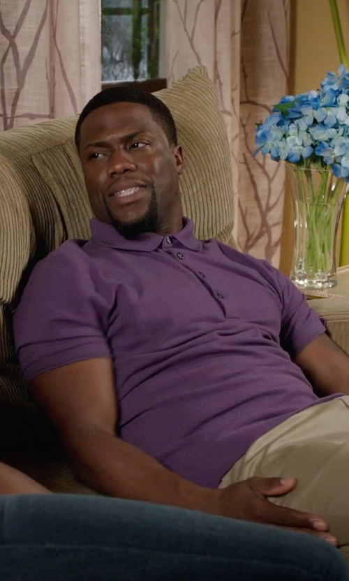 Kevin Hart with Polo Ralph Lauren Solid Slim-Fit Mesh Polo in Get Hard