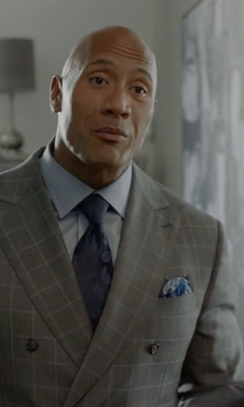 Dwayne Johnson with Etro Paisley Print Silk Pocket Square in Ballers