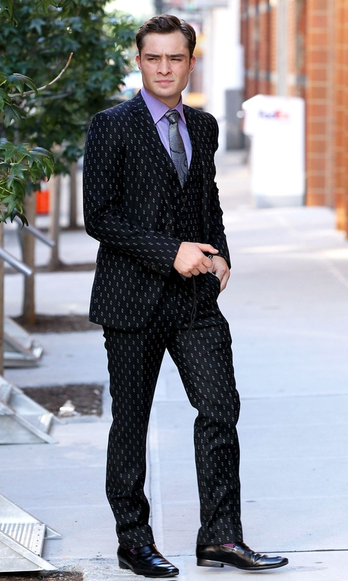 Ed Westwick with Asos Printed Slim Fit Blazer  in Gossip Girl