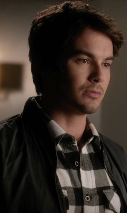 Tyler Blackburn with Dockers Nylon 2 Pocket Performance Bomber Jacket in Pretty Little Liars