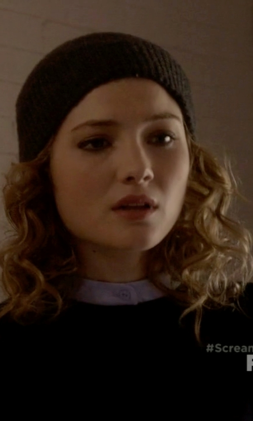 Skyler Samuels with P.A.R.O.S.H. Ribbed Knit Beanie in Scream Queens