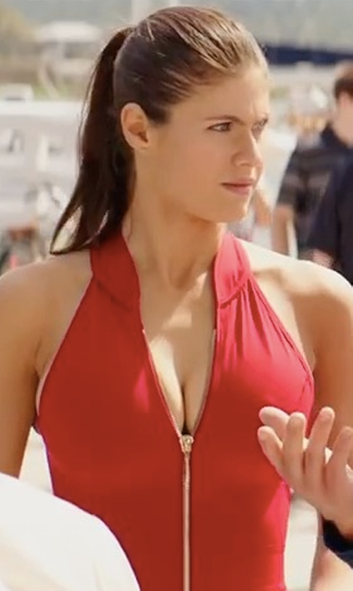 Alexandra Daddario with Dayna Pink (Costume Designer) Custom Made Lifeguard One Piece Swimsuit in Baywatch