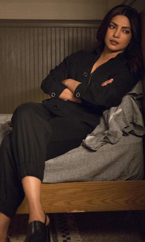 Priyanka Chopra with DL1961 X Jessica Alba No. 7 Jumpsuit in Quantico