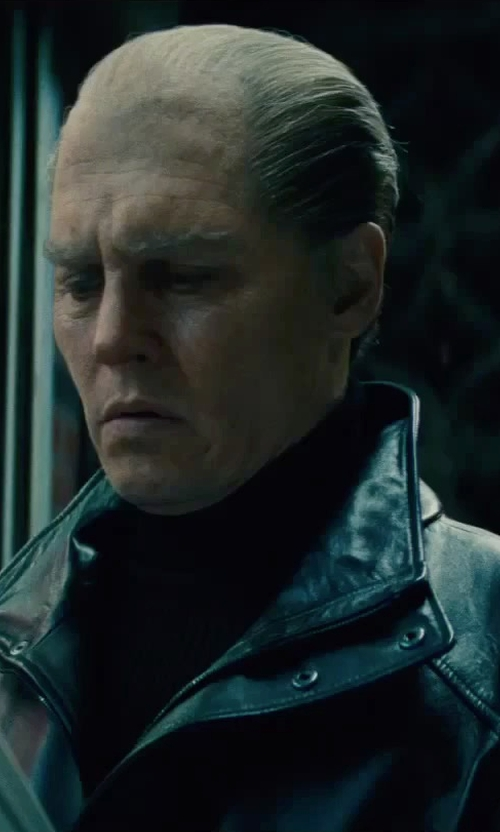 Johnny Depp with Andrea Fenzi Turtleneck Lightweight Sweater in Black Mass