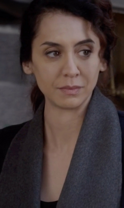 Mozhan Marnò with Eileen Fisher  Cozy Fringe Hem Alpaca Scarf in The Blacklist
