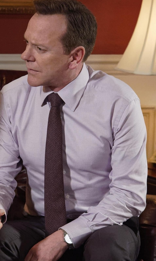 Kiefer Sutherland with Tom Ford Micro Dot-Print Silk Tie in Designated Survivor