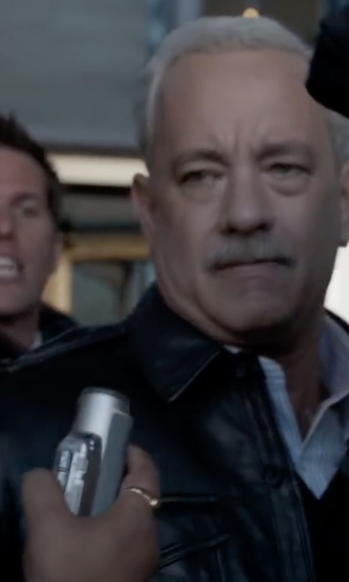 Tom Hanks with Andrew Marc Shirt Collar Leather Jacket in Sully
