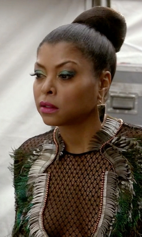 Taraji P. Henson with Gucci Fall 2013 Feather Dress in Empire