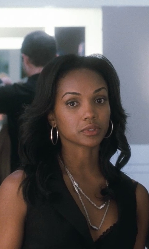 Mekia Cox with Athra Sterling Silver Hoop Earrings in Crazy, Stupid, Love.