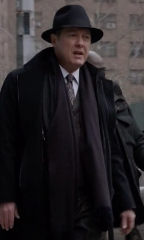 James Spader with Barneys New York Reversible Felt Scarf in The Blacklist