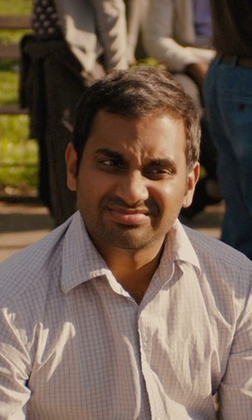 Aziz Ansari with Calvin Klein Men's Micro-Check Button-Front Woven Shirt in Master of None