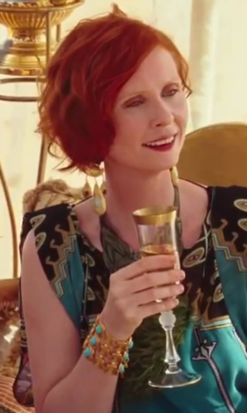 Cynthia Nixon with Silvia Rossi Peacock Feathers Necklace in Sex and the City 2