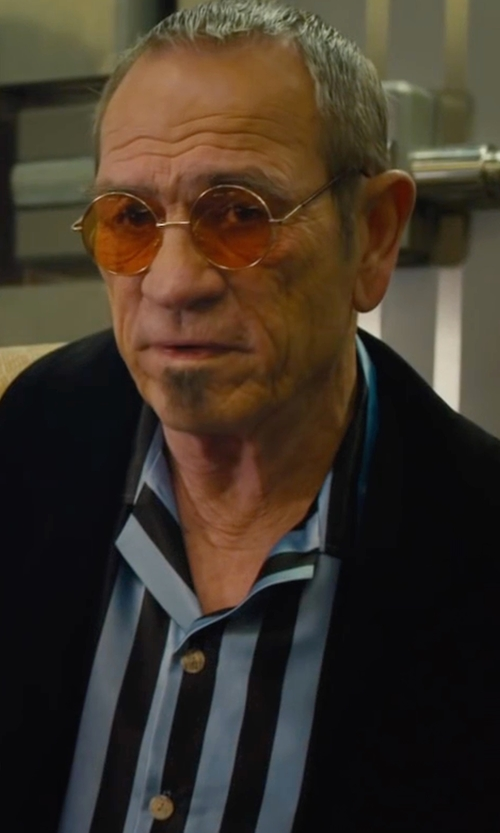 Tommy Lee Jones with Bonsoir London Tonal-Stripe Pajama Set in Mechanic: Resurrection