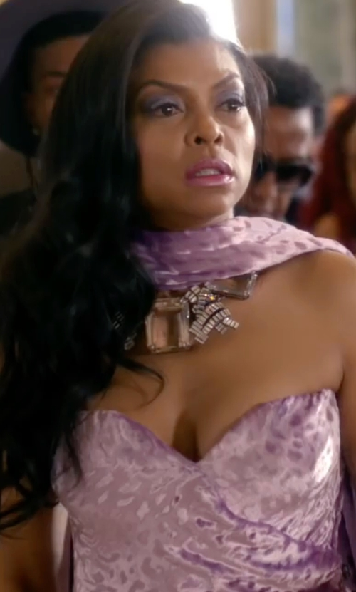 Taraji P. Henson with Oscar De La Renta Crystal Statement Necklace in Empire