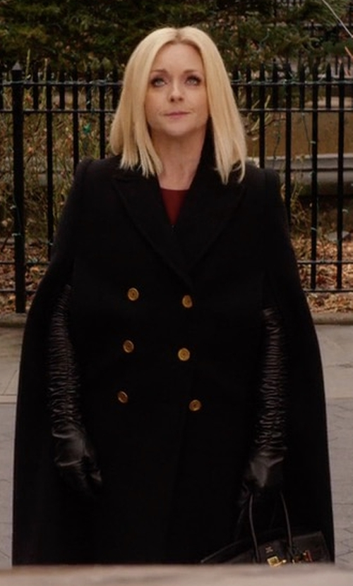 Jane Krakowski with Alexander McQueen Virgin Wool Cape Coat in Unbreakable Kimmy Schmidt