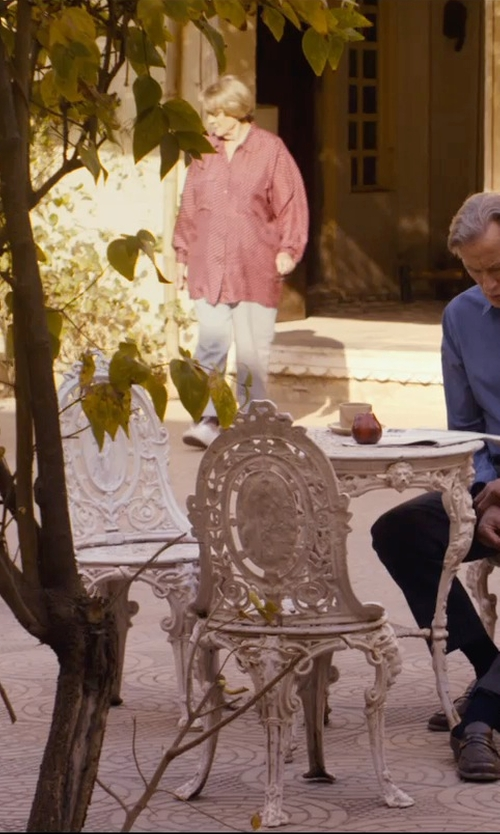 Maggie Smith with Giorgio Armani Flat-Front Cropped China Pants in The Second Best Exotic Marigold Hotel