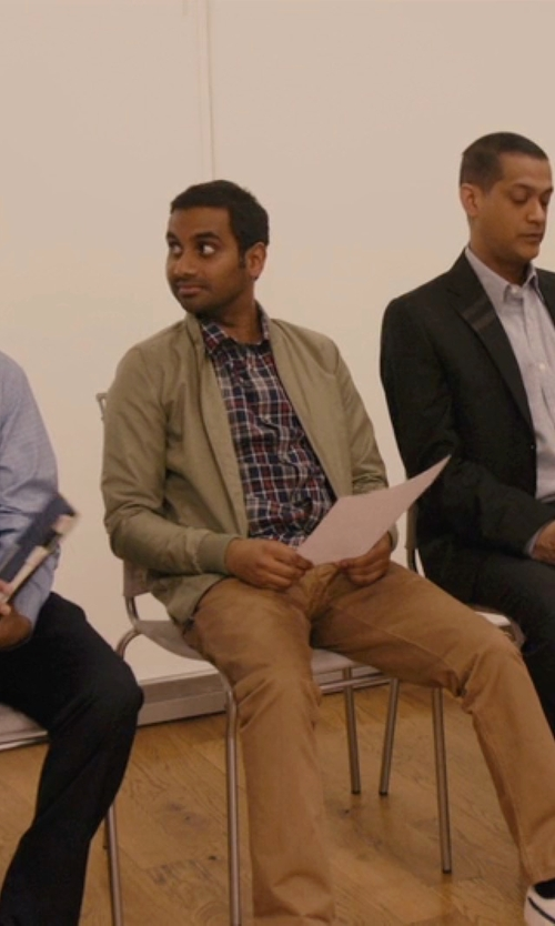 Aziz Ansari with Asos Longline Bomber Jacket in Master of None