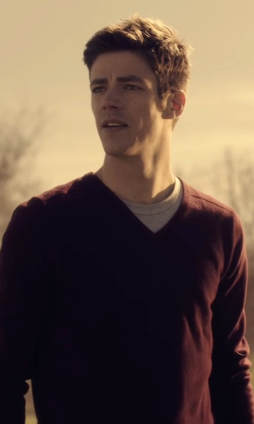 Grant Gustin with Brooks Brothers Saxxon Wool V-Neck Sweater in The Flash
