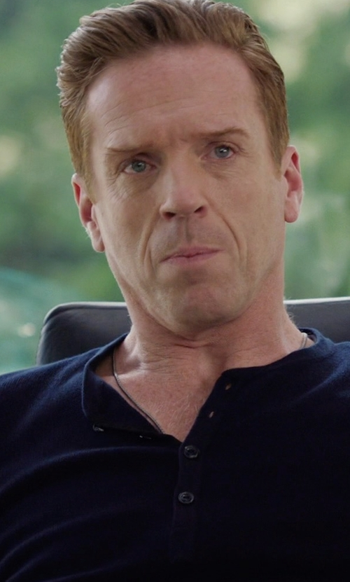 Damian Lewis with John Varvatos Ribbed Pima Cotton Henley in Billions