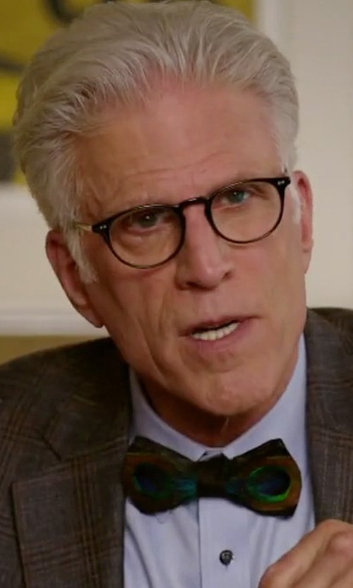 Ted Danson with Brackish Bowties Hugo Peacock-Feather Bow Tie in The Good Place