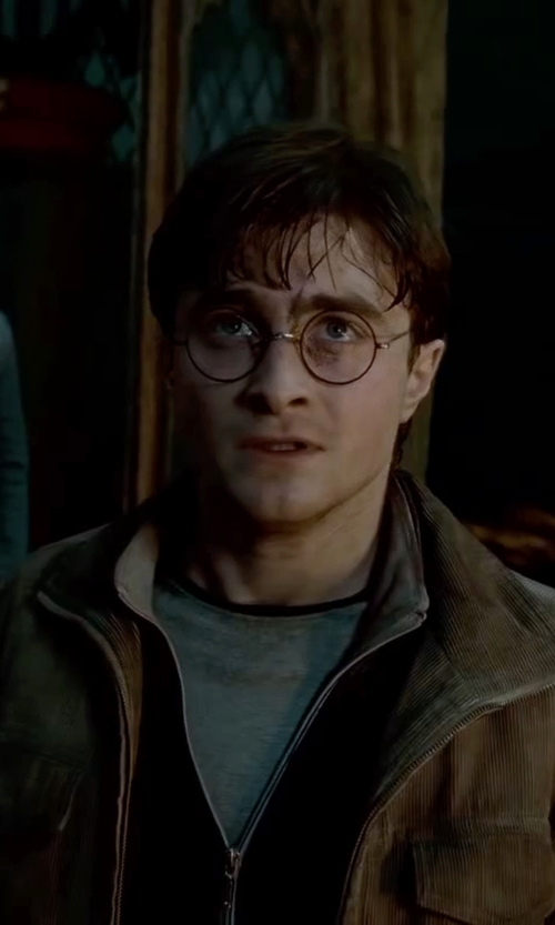 Daniel Radcliffe with James Perse Full-Zip Slub Knit Jacket in Harry Potter and the Deathly Hallows: Part 2