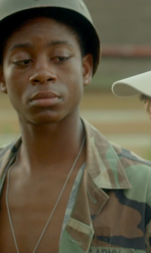 RJ Cyler with Reclaimed Vintage Camo Jacket in Me and Earl and the Dying Girl