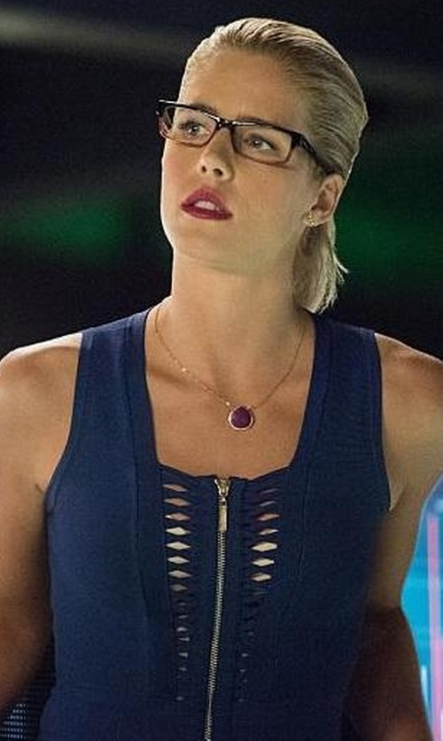 Emily Bett Rickards with Guess Marciano Zip Dress in Arrow