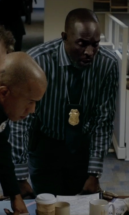 Michael Kenneth Williams with Murphy & Nye Stripe Button Down Shirts in Captive