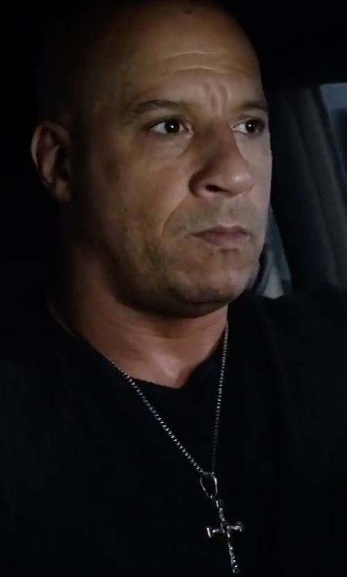Vin Diesel with King Baby Studio Traditional Cross Pendant Necklace in The Fate of the Furious